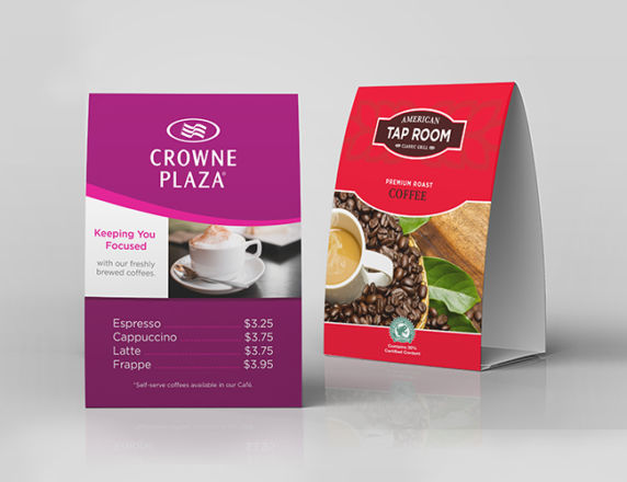 Table Tents <b>Crowne Plaza & Tap Room</b>