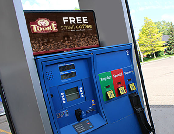 Gas Pump Ad<b> Torke Coffee </b>